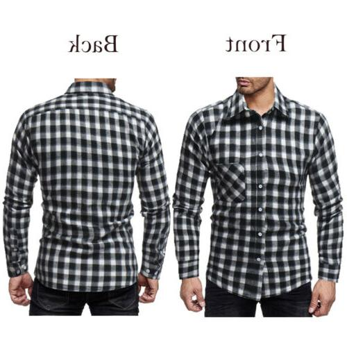Classic Men's Plaid Shirts Work Dress Shirt Formal Tops