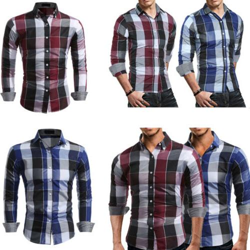 US Flannel Shirt Sleeve Button Down Casual Shirts