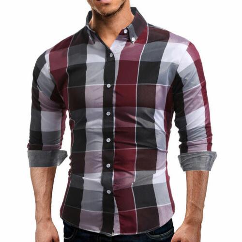 US Plaid Shirt Long Sleeve Button Down Shirts