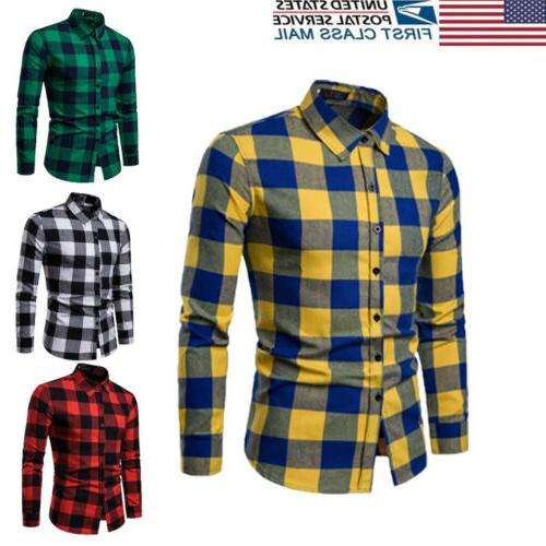 US Autumn T-shirt Bisiness Tops Plaid Shirts