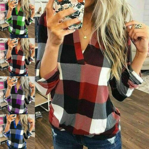 us women casual loose flannel plaid shirt