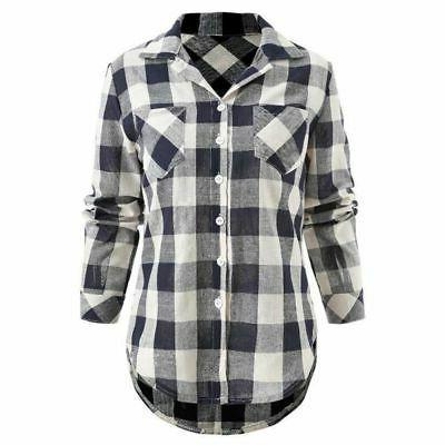 Women Casual Plaid Shirt Collar