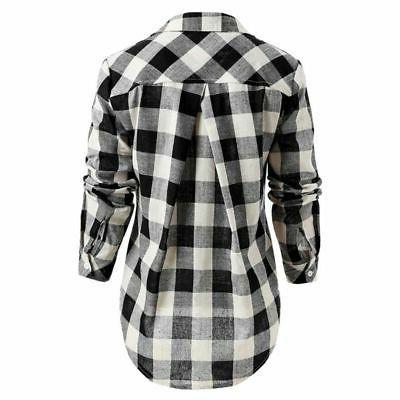 Women Ladies Plaid Check Shirts Down Clothes