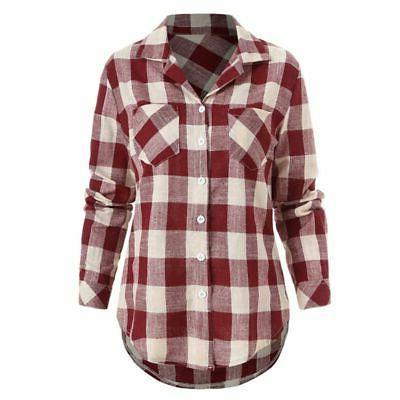 USA Women Plaid & Flannel Button Down Blouse PLUS SIZE
