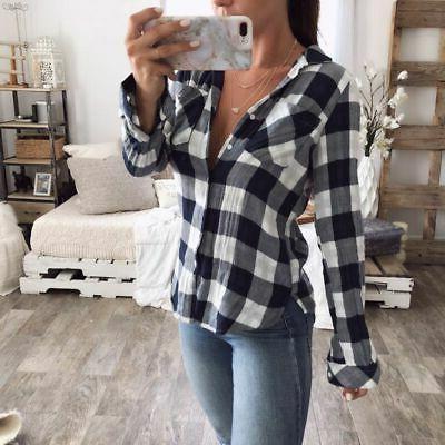 Women Flannel Plaid Shirt Button Collar