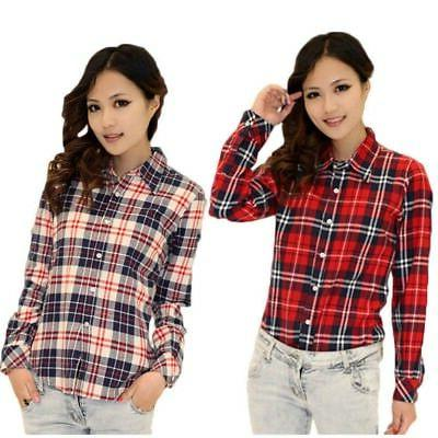 US Shirt Button Down Long Sleeve Flannel Tops