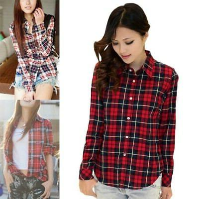 Down Check Blouse Long Flannel Tops