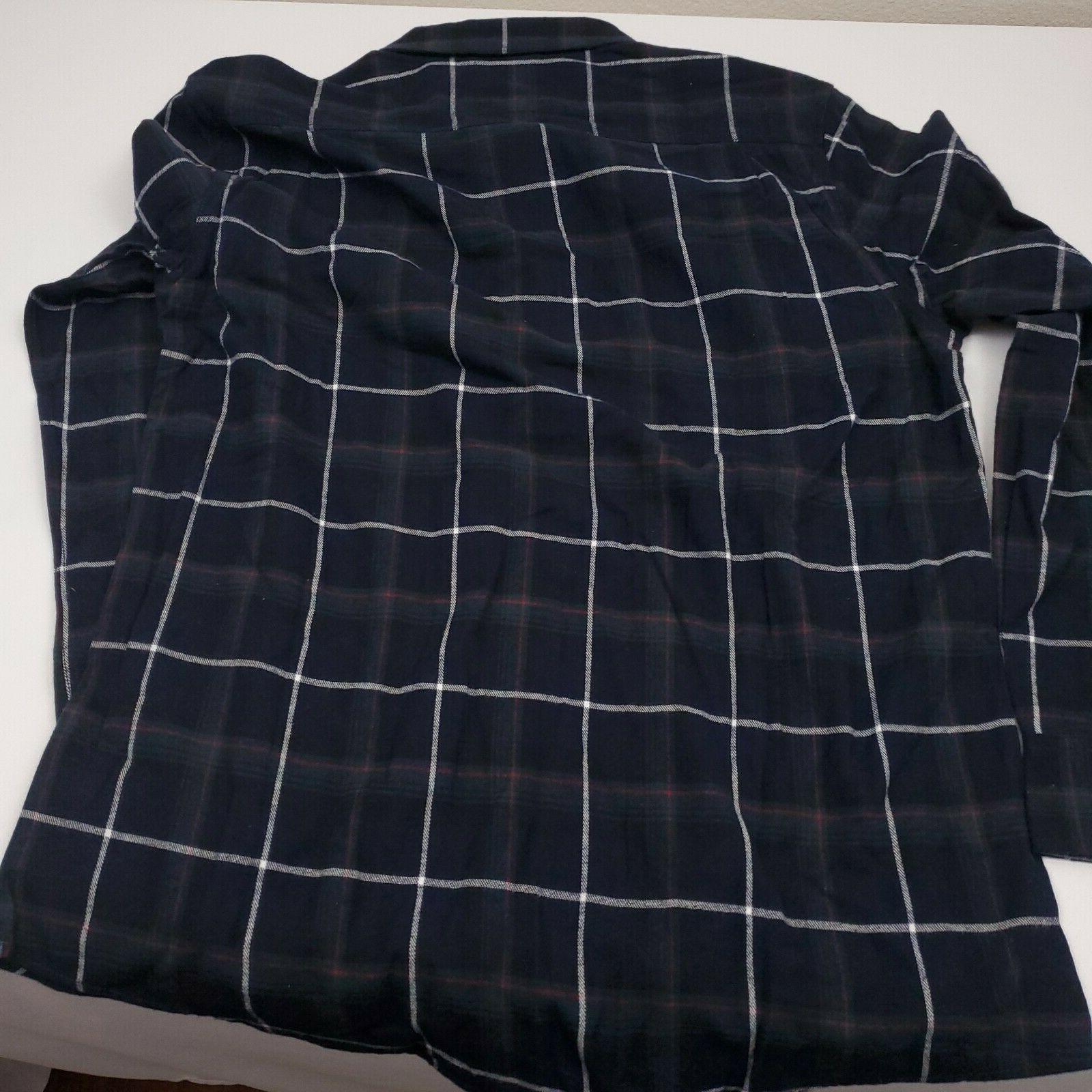 Weatherproof Vintage Men's Flannel Shirt Long Sleeve 100% Cotton Blue
