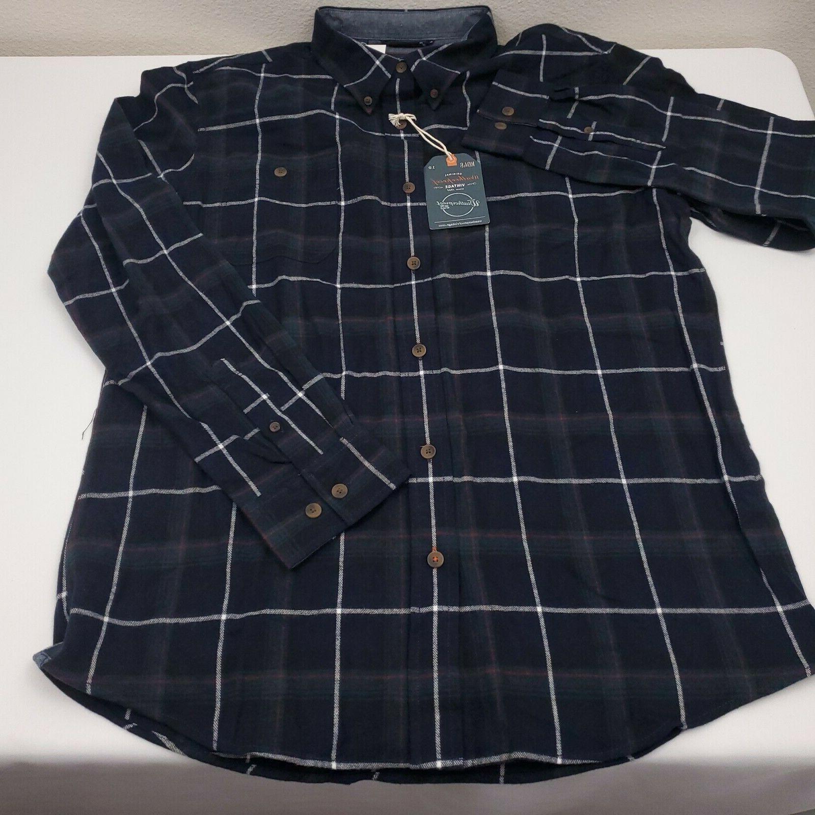 Weatherproof Vintage Men's Shirt Sleeve Cotton Plaid Blue NEW