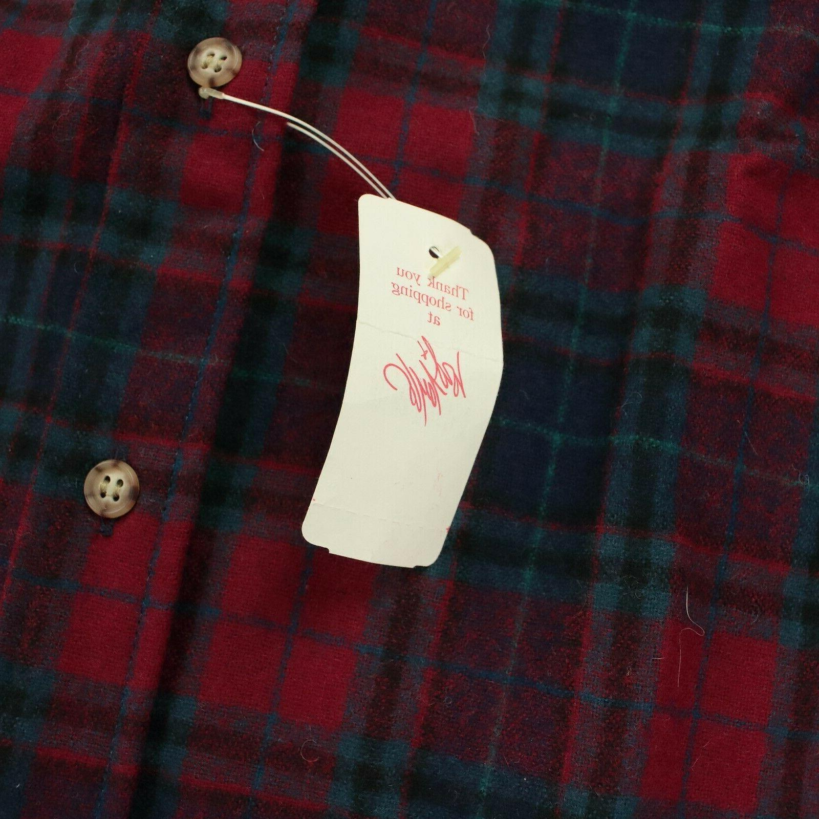 vtg DEADSTOCK usa pendleton wool flannel patch MEDIUM plaid nwt