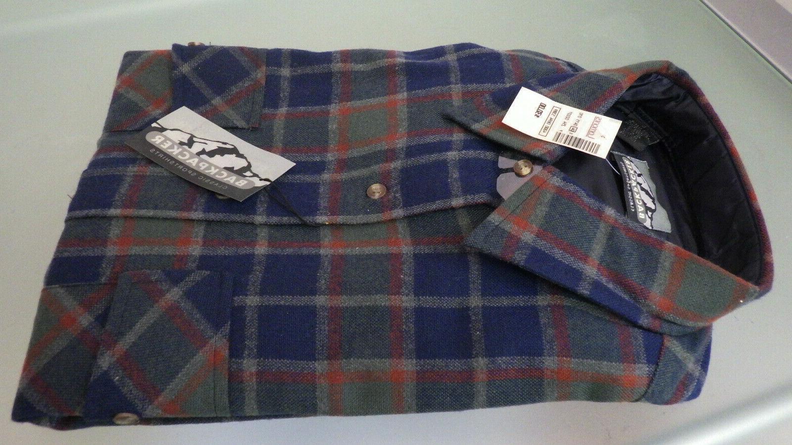 Vtg NWT BACK PACKER Sportswear LS Shirt Large Plaid Woven Fl