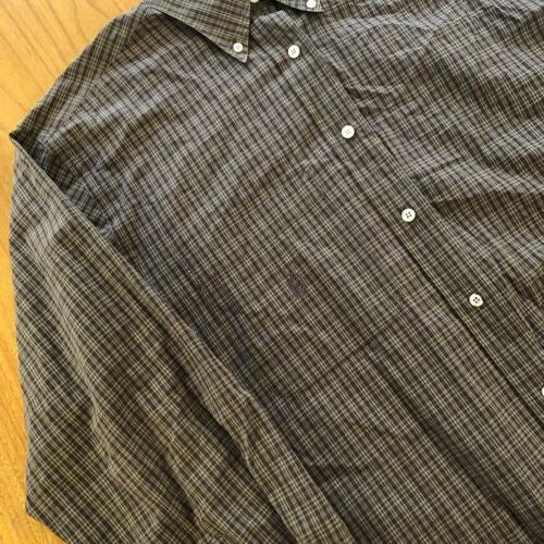 Vtg Nautica Flannel Rust Long Sleeve Button Med