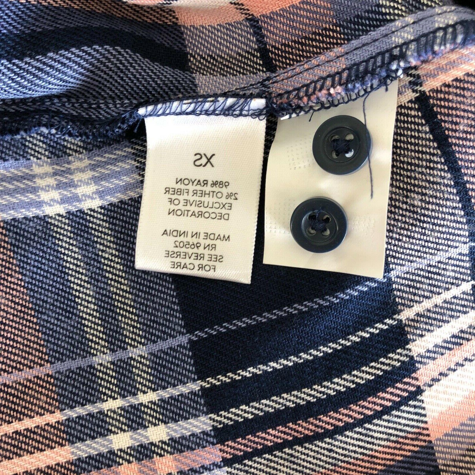 Dressbarn Westport XS Flannel Button Shirt Top Plaid NEW