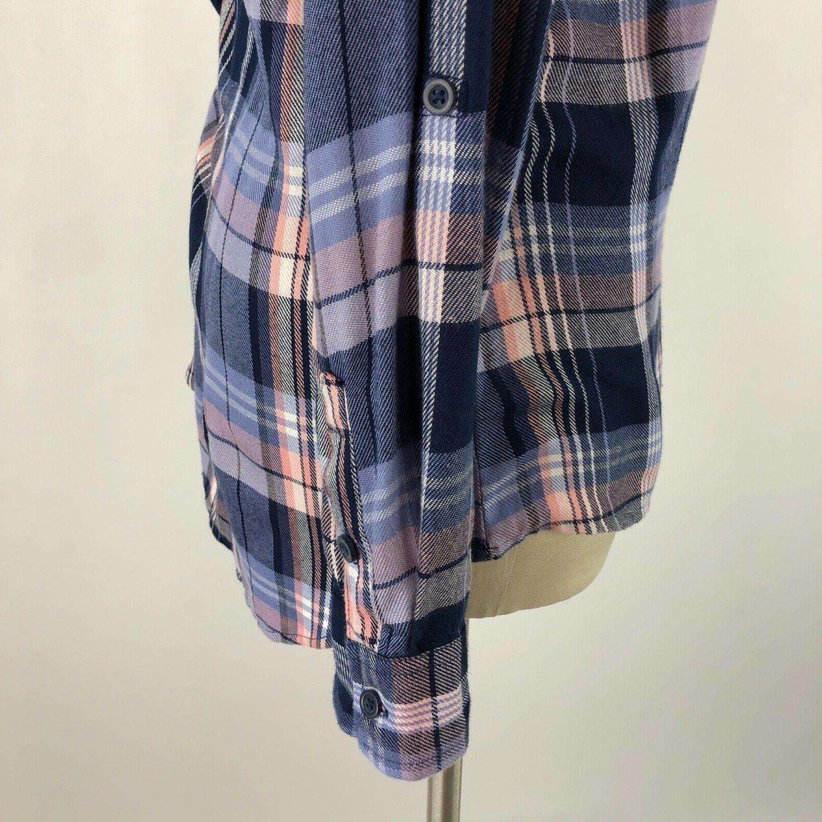 Dressbarn Flannel Button Top Plaid NEW