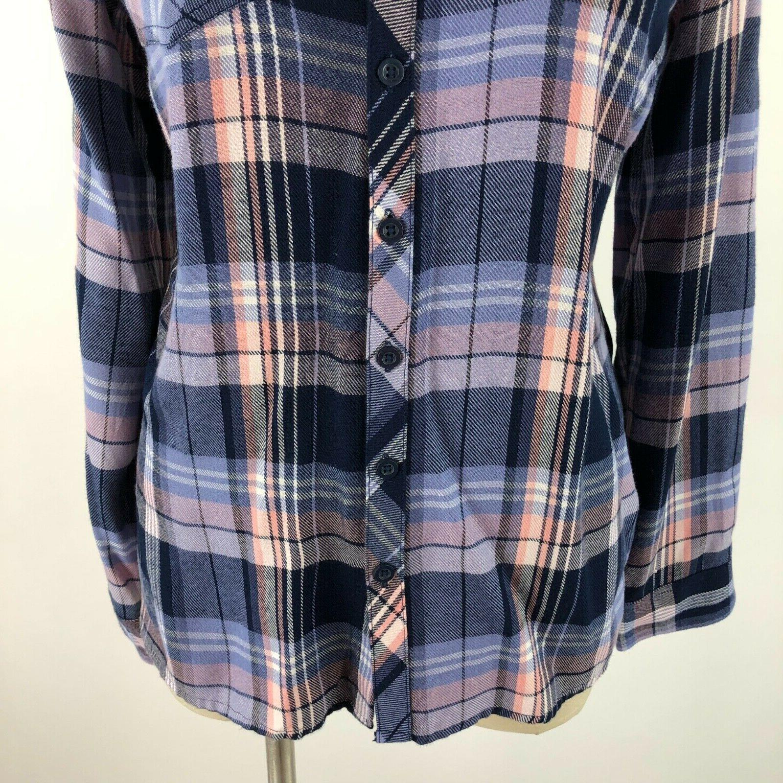 Dressbarn Womens XS Flannel Button Down Top Pink NEW