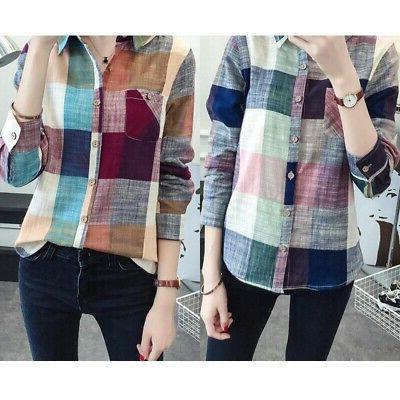 US Women Casual Button Down Lapel Shirt Plaids Check Flannel