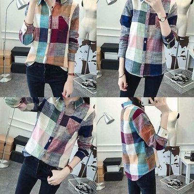 Women Button Down Lapel Shirt Plaids & Checks Shirts Tops Blouse!