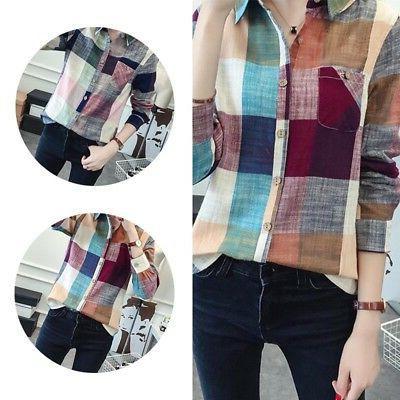 Women Casual Lapel Shirt Plaids Checks Blouse!