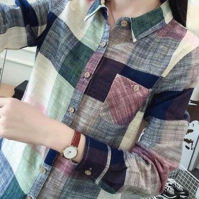 Women Lapel Shirt Checks Shirts Blouse!
