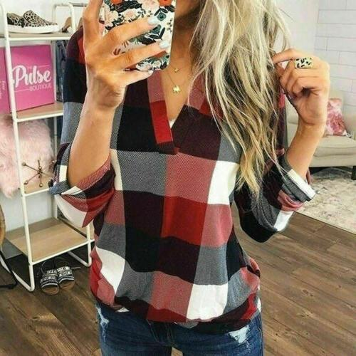 US Casual V Button Blouse
