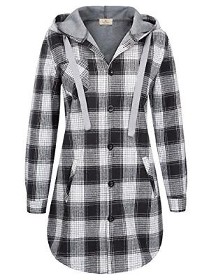Women Classic Plaid Hoodie Flannel Shirts S Black