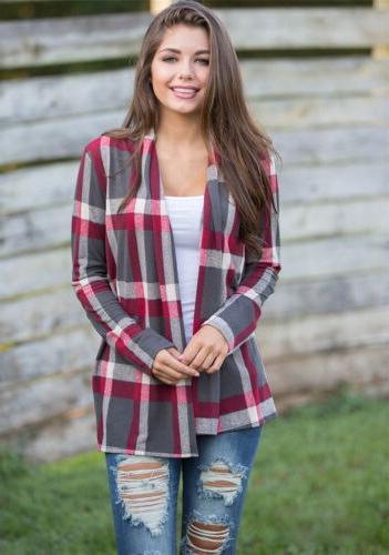 Women Cotton Lapel Plaid <font><b>Flannel</b></font> <font><b>S</b></font>-XXL