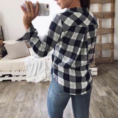 Women & Check Down Blouse Clothes