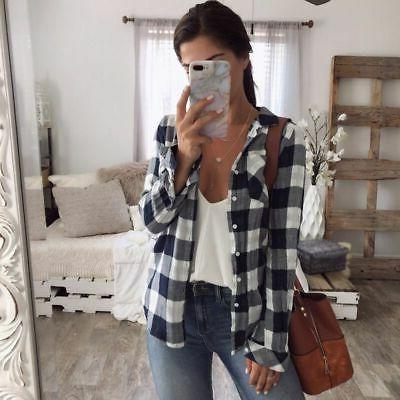 Women Plaid & Check Shirts Down Blouse Clothes