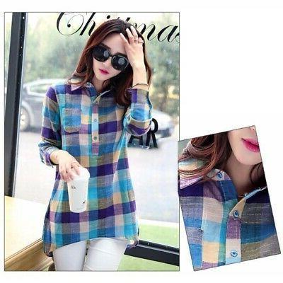 Women Plaid Cotton Long Lapel Plaid Flannel