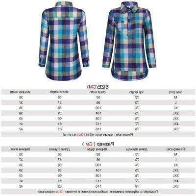 Women Lady Plaid Blouse Sleeve Casual Tops