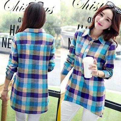 Women Lady Flannel Plaid Sleeve Casual Tops