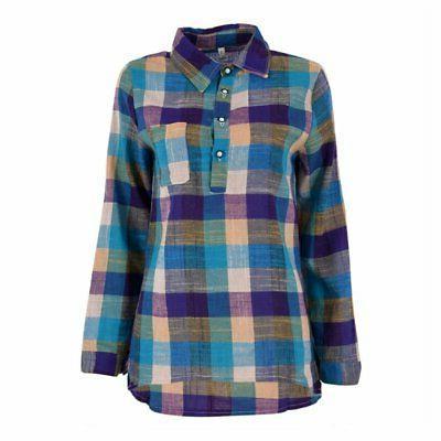 Women Flannel Plaid Blouse Sleeve Casual Lapel Tops