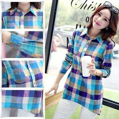 Women Plaid Blouse Cotton Long Sleeve Shirt Tops