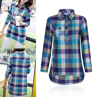 Women Cotton Long Sleeve Lapel Plaid Shirts