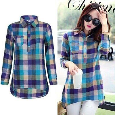 Women Loose Blouse Cotton Long Sleeve Lapel Plaid Shirts