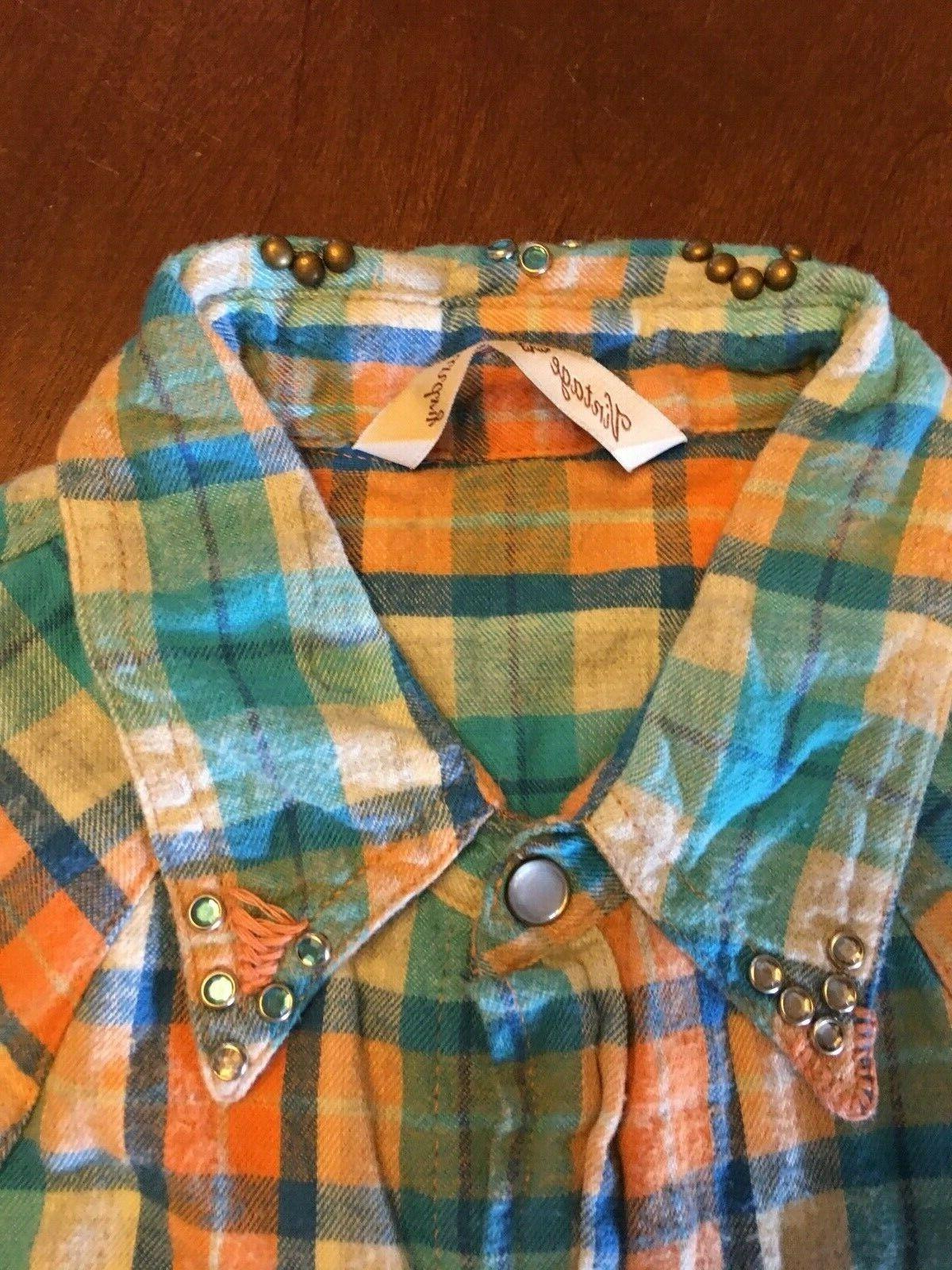 Women's Brand Western Style Flannel Shirt Size