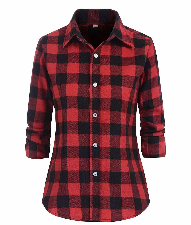 women s check flannel plaid shirt