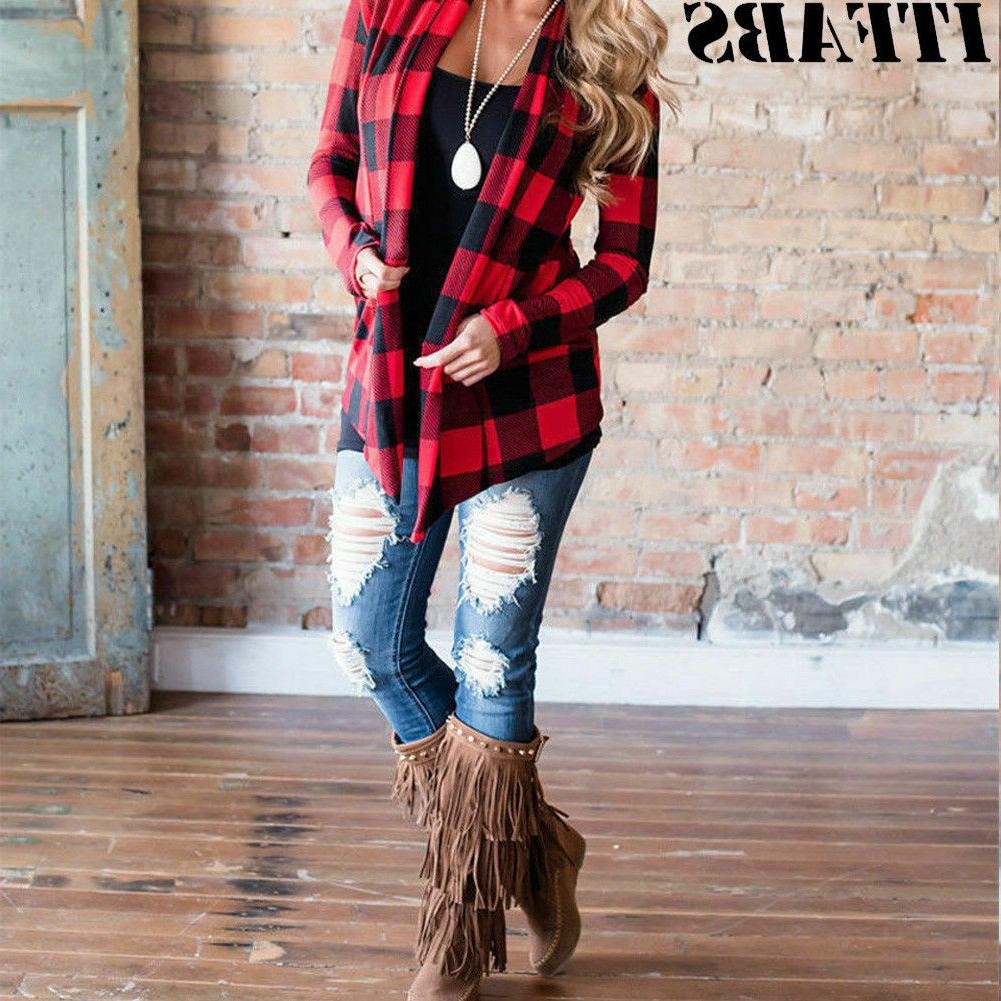 Women's Flannel Plaid Sleeve Cardigan Blouse