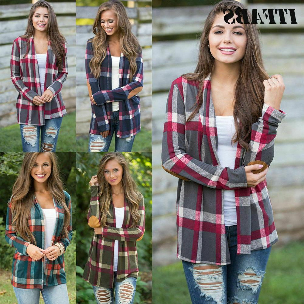 Women's Flannel Plaid Sleeve Shirts Loose Cardigan Jacket