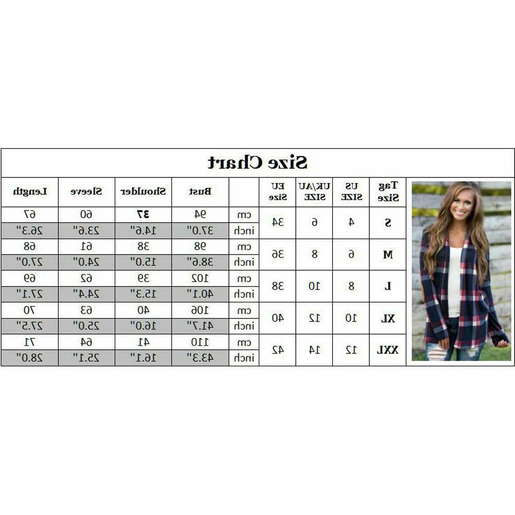 Women's Plaid Sleeve Shirts Casual Cardigan