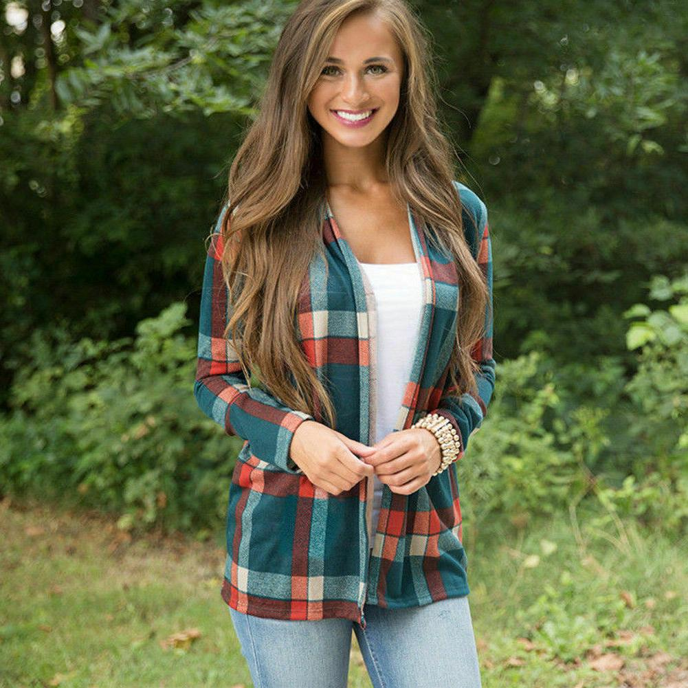 Women's Flannel Long Sleeve Shirts Cardigan Jacket Top