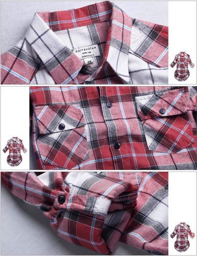 Match Women's Long Button Down Collar Flannel Shirt #B003Medium,