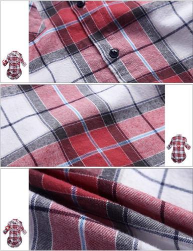 Match Women's Sleeve Button Flannel Shirt #B003Medium,