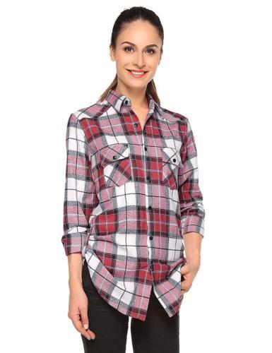 women s long sleeve button down collar