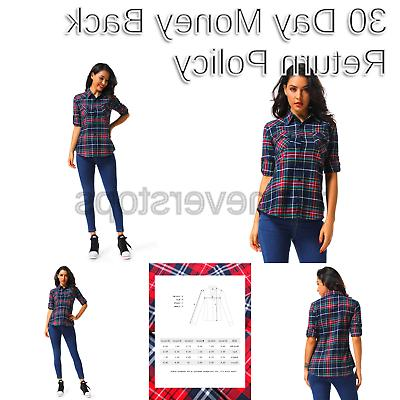 women s long sleeve button down plaid