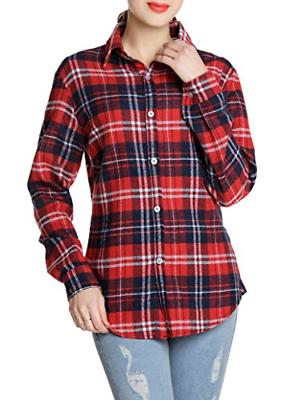 GUANYY Women's Casual Classic Plaid Button Shirt Blue