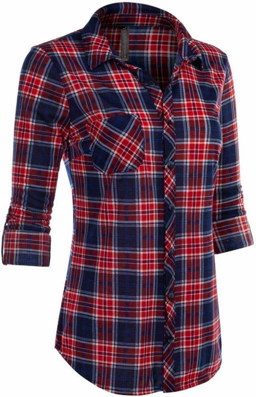 Jj Women'S Sleeve Button Down Plaid Flannel Shirt