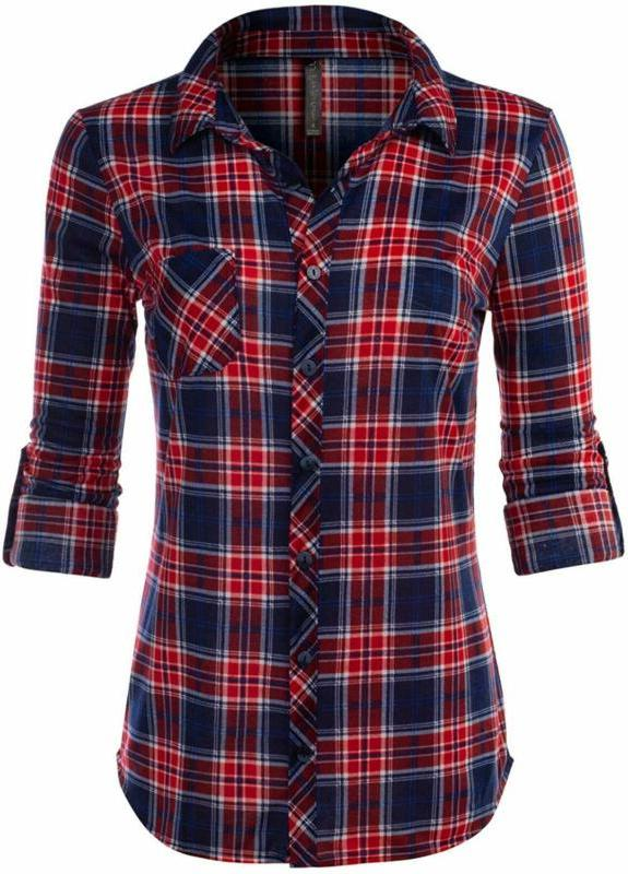 women s long sleeve collared button down