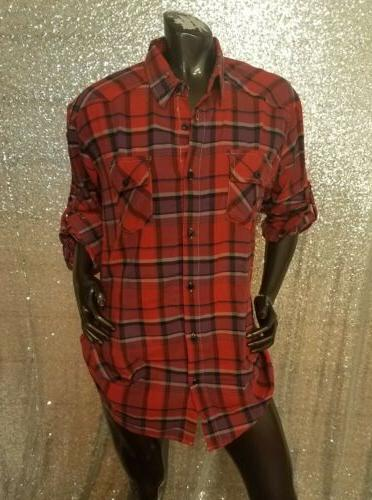 Women's Long Flannel Red/Purple -