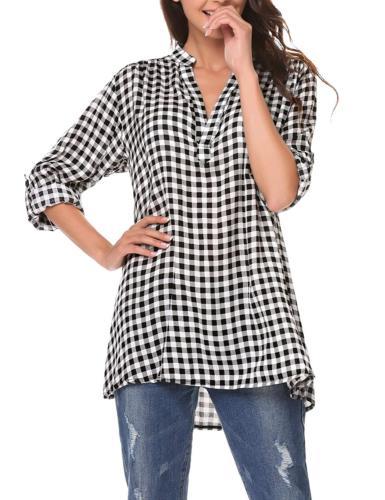 Zeagoo Sleeve Flannel Check Shirts Casual Boyfriend